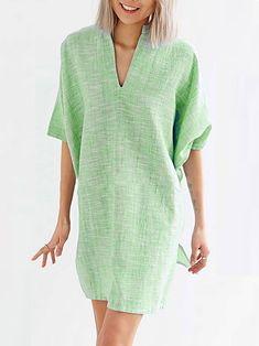 Elegant Batwing Sleeve V Neck Pure Colour Dress – Nanolovelyshop Cocoon Dress, Linen Blouse, Batwing Sleeve, Dress Brands, Green And Grey, Bodycon Dress, Pure Products, Colour, Elegant