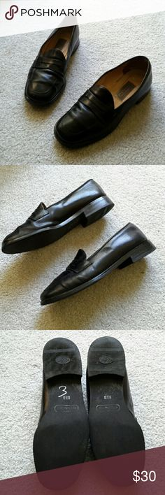 Coach Black Loafers Loafers made in Italy, size 6.5, shoes show some wear with a scratch on the front right shoe, both shoes have some tiny scratches but not really visible when wearing, other than that they are in decent condition...still have plenty of life left in them. Coach Shoes Flats & Loafers