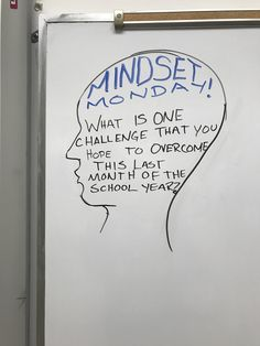 """Whiteboard Prompt - the theme of """"Mindset Monday"""" allows students to explore a growth mindset every week through journal entries and encourages that mindset to motivate students throughout the year. School Classroom, Classroom Activities, Teaching Themes, Daily Writing Prompts, Journal Prompts For Kids, Writing Assignments, Morning Activities, Bell Work, Responsive Classroom"""