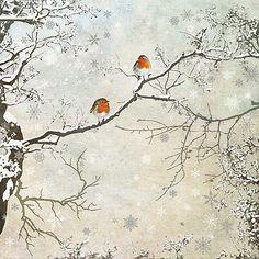 Two Robins - christmas card design by Jane Crowther for Bug Art greeting cards. Christmas Scenes, Christmas Pictures, Christmas Art, Winter Christmas, Christmas Card Designs, Holiday, Christmas Landscape, Bug Art, Christmas Drawing