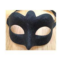 Black Glitter Masquerade Venetian Mask w/ Tie Ribbon