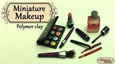 Miniature Makeup; Eyeshadow, lipstick, and mascara - Polymer clay tutorial