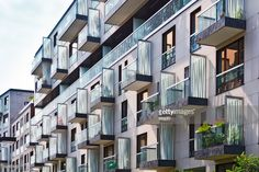 Stock Photo : Rows of balconies in a apartment building