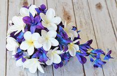 Wedding Purple Blue Mokara Orchids and Off White Plumerias Bride Cascade Teardrop Bouquet - Calla Lilies and Orchids