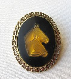 1960s agate and lucite horse cameo