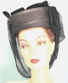 """c. 1903? Black Woven Straw Hat with Black Velvet Bow and Black Lace """"Snood""""! This is my fantasy hat that someone (milliner?) from the 40s cleverly blended 40s fashion with a hat from the 1900s. I have a great story about what happened when I bought this hat."""