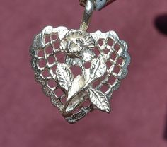 Sterling Silver Vintage Lattice Heart with 3D Rose, Charm / Pendant