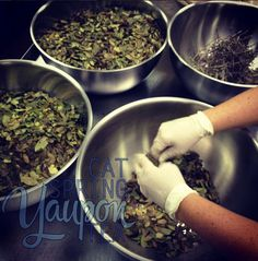 Cat Spring Yaupon Tea being sorted and prepared for packaging | via Instagram