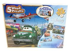 Disney Cars And Planes Wooden Puzzle - 5 Different Puzzles With Storage Box, 2015 Amazon Top Rated Puzzle Boxes #Toy