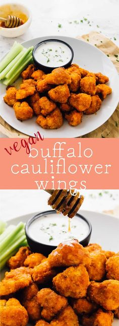 These Vegan Cauliflower Buffalo Wings will blow your tastebuds away!! Coated in a sweet hot garlic buffalo sauce, they are unbelievably addictive and the perfect game day snack!