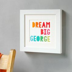 I've just found Personalised Dream Big Framed Print. Dream big, for you never know what adventure your life may hold. This bright personalised print is a perfect gift for a new baby's nursery. Keepsake Baby Gifts, New Baby Gifts, Nursery Artwork, Nursery Prints, Quote Prints, Framed Prints, Baby Posters, Baby Frame, Simple Prints