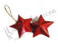 Stelline in legno rosso: super occasione di Natale! Confezione da 12 pezzi