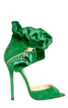 Jimmy Choo emerald green suede high heel sandals with ruffle and zipper detail.