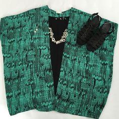 Soprano teal green & black kimono style wrap Black & teal kimono wrap. 100% polyester. Never worn. NWOT Soprano Sweaters Shrugs & Ponchos