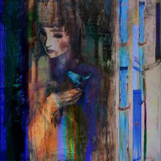 "Saatchi Online Artist: Suhair Sibai; Paint, 2012, Mixed Media ""Blue Bird #3"""