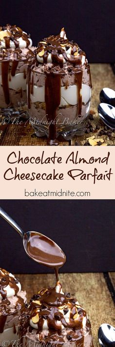 Chocolate Almond Cheesecake Parfait ~ decadent chocolate cheesecake and toasted almonds flavor this easy no-bake dessert!