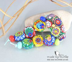 Bead set big focal and 6 smaller beads  T w o   M by calypsosbeads, $55.00  <3<3<3A RAINBOW OF COLOUR MAKES UP THIS FAB BEAD SET - AWESOME<3<3<3 @