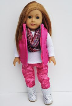 American Girl Clothes - Hot Pink Puffy Vest White Long Sleeve Tshirt Hot Pink Tie Dye Skinny Jeans Infinity Scarf on Etsy, $38.00