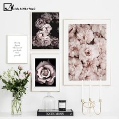 Flower Rose Botanical Canvas Art Poster Nordic style Decorative Print Wall Painting Scandinavian Decoration Picture Home Decor Mural Wall Art, Framed Wall Art, Flower Room Decor, Decor Room, Art Decor, Home Decor, Reproductions Murales, Images Murales, Inspiration Wand