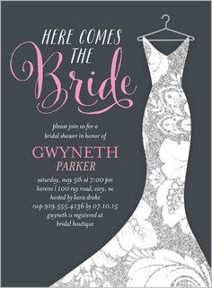 Dazzling Dress Bridal Shower Invitation, for kayla's bridal shower