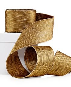 Holiday Lane Gold Crinkle Ribbon Decoration - Holiday Lane
