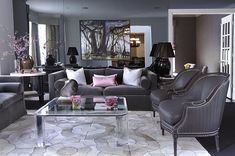 Gray, grey, and great!! <3 gray and pink themed living room
