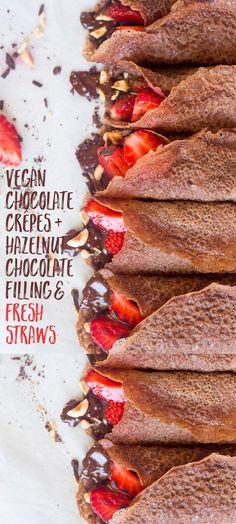 vegan chocolade crepes / pannenkoeken + hazelnoot chocolade vulling en verse aardbeien