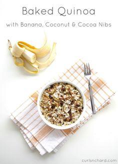 Vegan Baked Quinoa with Banana, Coconut & Cocoa Nibs   curlsnchard.com