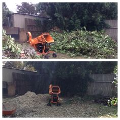 Now you see it, now you don't! This Milwaukie homeowner used the YardRents Wood Shredder to easily turn several huge piles of branches into mulch. http://www.yardrents.com/Wood-Chipper-Shredder-Mulcher-Rental-Self-Propelled-Auto-Feed