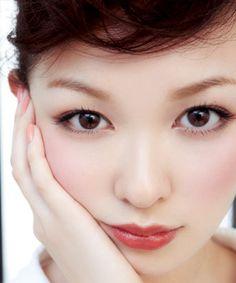 rosy cheeks and lips Asian Makeup, Korean Makeup, Eye Makeup, Hair Makeup, Japanese Makeup, Japanese Beauty, Asian Beauty, Japanese Eyes, Bridal Makeup