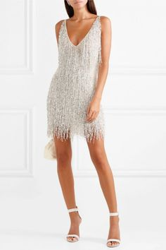 Naeem Khan - Gatsby Embellished Chiffon Mini Dress - White - How To Be Trendy Sexy Dresses, Evening Dresses, Short Dresses, Prom Dresses, White Party Dresses, 1920s Party Dresses, 1920s Fashion Dresses, Dinner Dresses, Party Dress Outfits