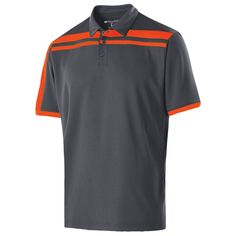 Holloway Men's Carbon/Orange Closed-Hole Charge Polo