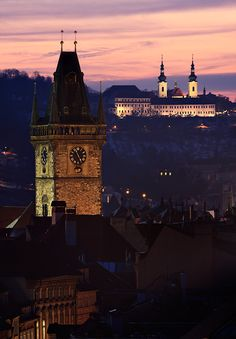 Old Town Cityhall, with a view of Strahov Monastery, Prague.