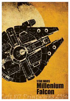 Star Wars poster, AT AT, X Wing, Millennium falcon, Star Wars minimalistic art prints