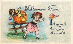 Halloween 1908 Boy's Jack O Lantern Scares Girl Collectible Vintage Postcard Halloween Circa 1908 Boy with big Jack o Lantern scares girl. Unused collectible antique vintage postcard in very good cond