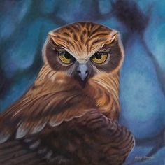 Nicky Shelton - Bird - Painting-  Stella Boobook Owl