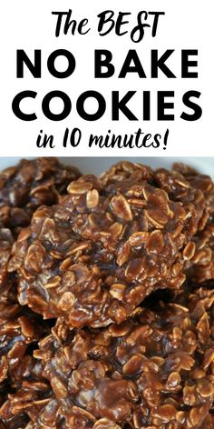 Easy chocolate no bake cookies in just 10 minutes! These rich chocolate peanut butter and oatmeal no bake cookies are always a hit! These classic cookies are made with basic pantry items so there's no need to go to the store. Whip up a batch of these quick delicious cookies today!
