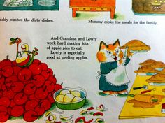 Lowly  Worm and Grandma Cat  -  from the Busytown books by Richard Scarry photo: stephen_bolen, via Flickr