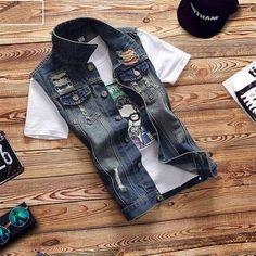Mens Denim Vest Men Colete Masculino Denim Vests Men Sleeveless Jacket Motorcycle Vest Mens Waistcoats Vests & Waistcoats