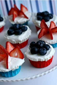 Red, White & Blue Ice Cream Cupcakes
