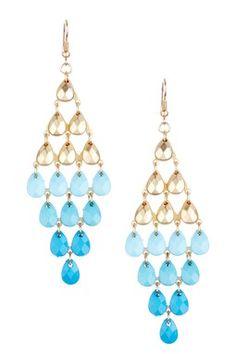 Blue & Gold Ombre Beaded Drop Chandelier Earrings