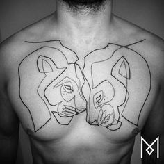 Continuous single line lion tattoo on the chest. Tattoo Artist: Mo Ganji