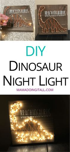 Add fairy lights to string art to make an adorable, easy DIY night light! Dinosaur Party, Dinosaur Birthday, Dinosaur Dinosaur, Dinosaur Gifts, Boy Room, Kids Room, Bedroom Boys, Diy Bedroom, Bedrooms