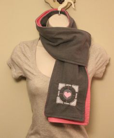 Portal Inspired Companion Cube Grey and Pink by NerdandNeedle, $15.00 Companion Cube, Geek Crafts, Geek Out, Junk Drawer, Scarfs, Cubes, Portal, Videogames, Must Haves
