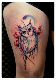 http://tattoomagz.com/tattoos-by-tyago-compiani/beautiful-watercolour-owl-tattoo/ Amazing water colour owl tattoo!