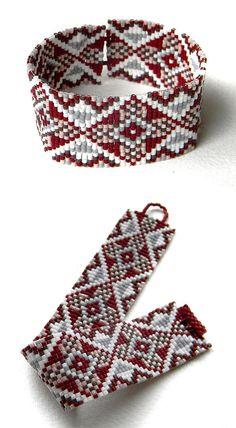 Beaded bracelet beaded cuff beadwork jewelry by Anabel27shop