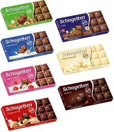 SCHOGETTEN - four bars chocolate of your choice - original from Germany Marzipan, German Chocolate, White Chocolate, Good To Know, Creative Design, Packaging Design, Deserts, Germany, Sweets