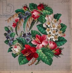 Bunch of roses embroidery design, violets, lilies and hawthorn, 19th century