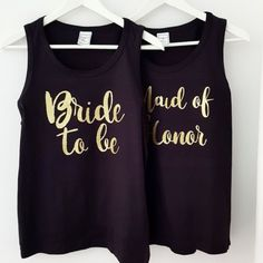 "Glitter ""Bride To Be"" & ""Maid of Honor"" Μαύρο τιραντάκι Maid Of Honor, Bride, Tank Tops, Wedding, Shopping, Women, Fashion, Maid Of Honour, Wedding Bride"