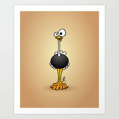 Ostrich Art Print by Cardvibes on Wanelo
